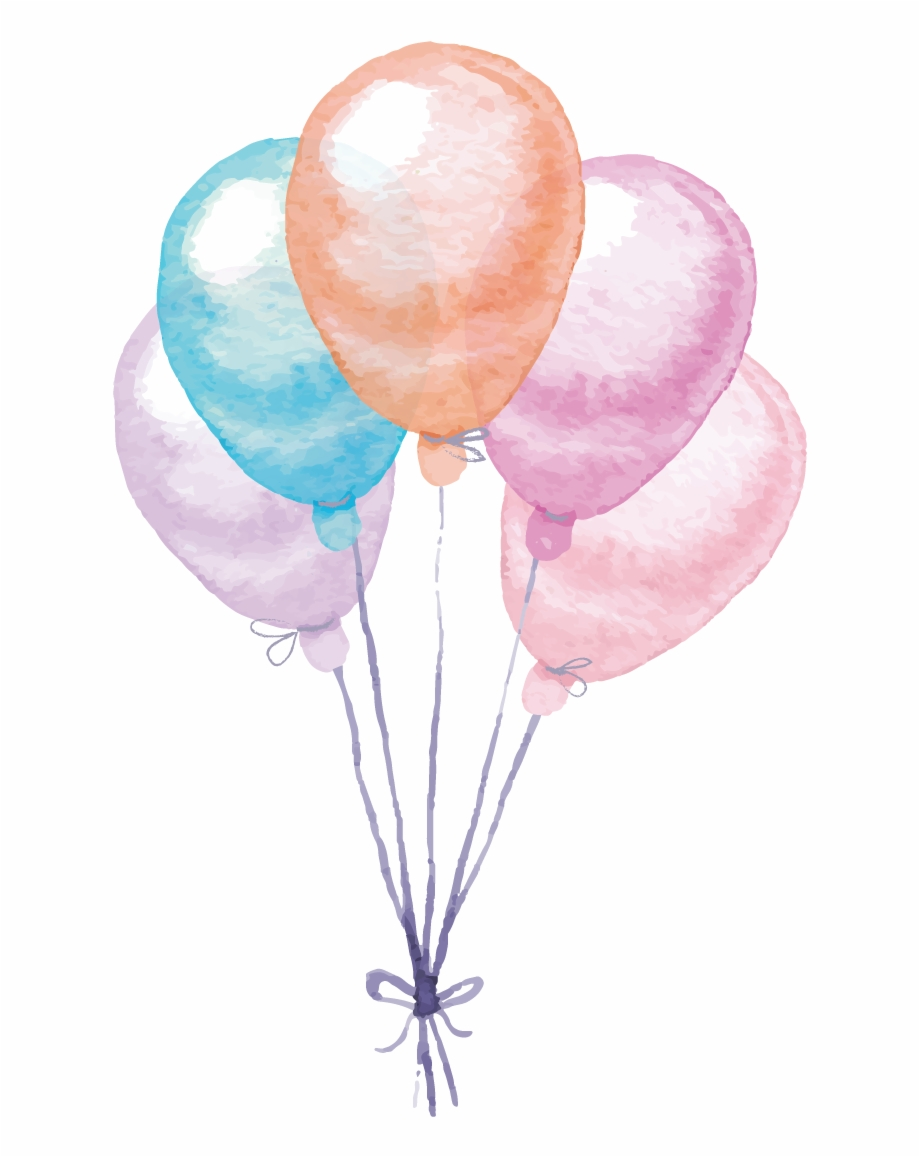 Colorful Painting Balloon Watercolor Vector Balloons.