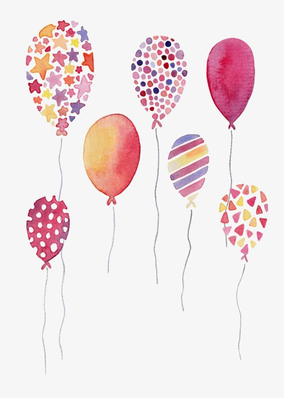 Watercolor Balloons, Watercolor Clipart, Hand Painted.