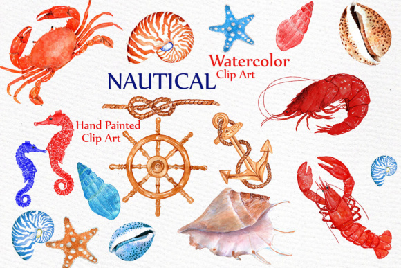Nautical Watercolor Clipart BEACH ANIMALS CLIPART Watercolor crabs  Crustacean Clip Art Lobster clipart.
