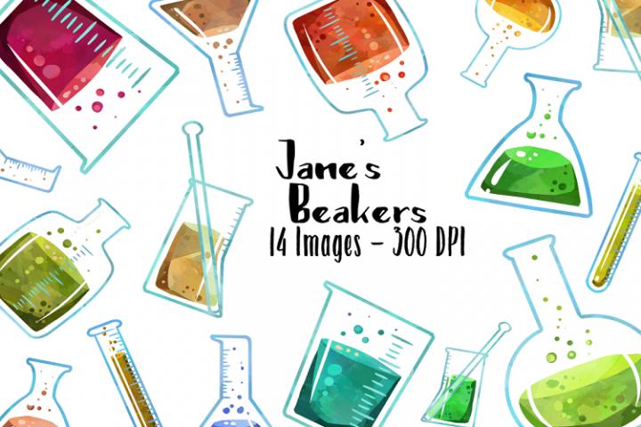 Watercolor Beakers Clipart.