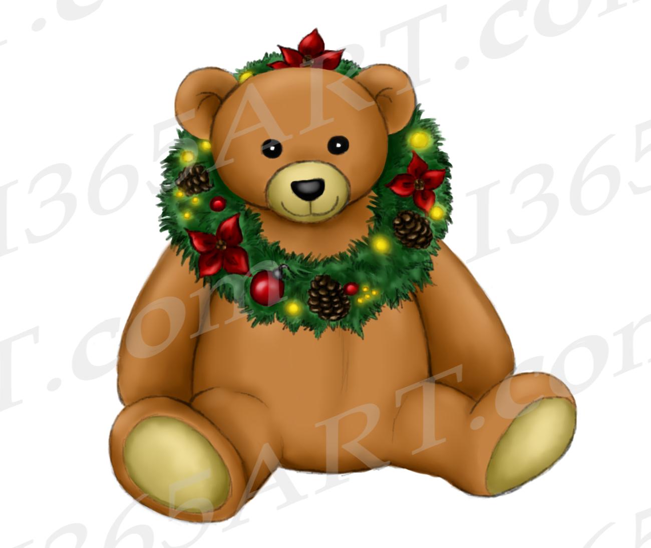 Christmas Teddy Bear Clipart, Watercolor Teddy Bear PNG.