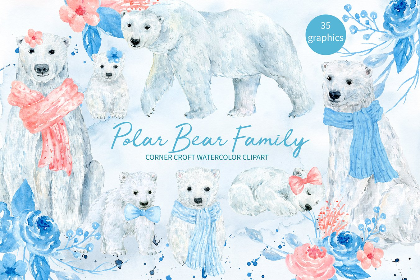 Watercolor polar bear family clipart for instant download.