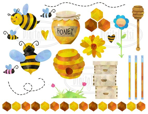 Watercolor Honey Bees Clipart.