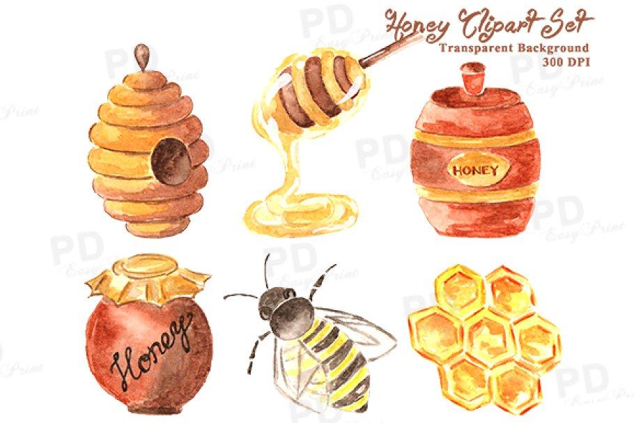 Watercolor Honey Bee Clipart.