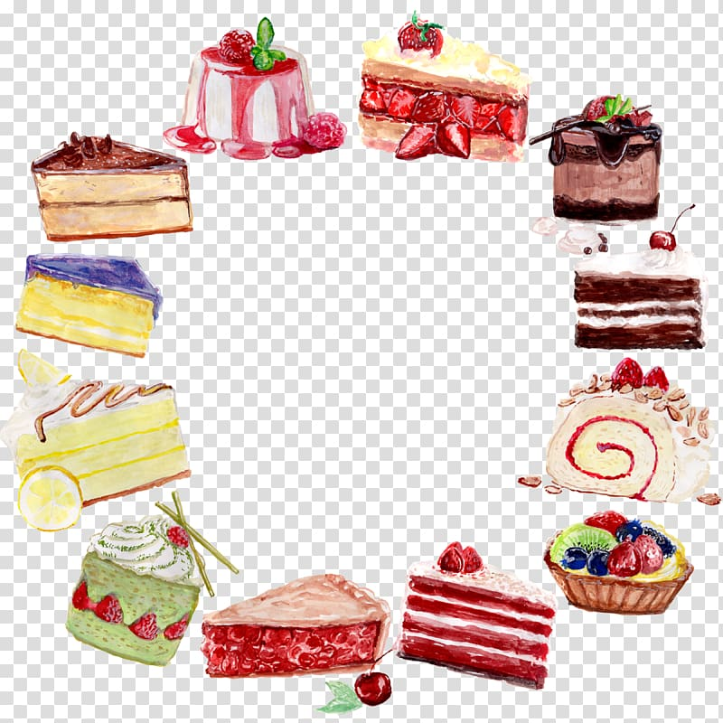 Assorted cakes illustration, Birthday cake Watercolor.