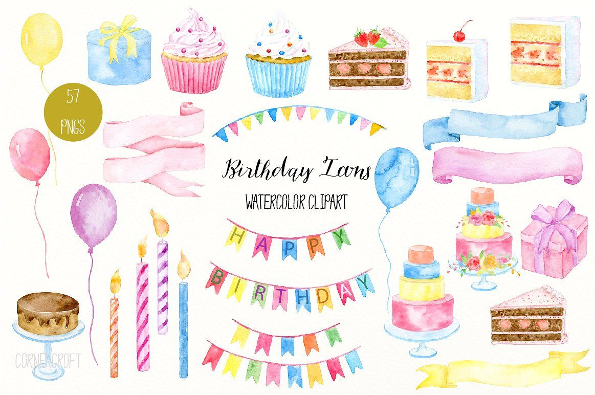 Watercolor Birthday Icons #floral#gift#buntings#ribbons.