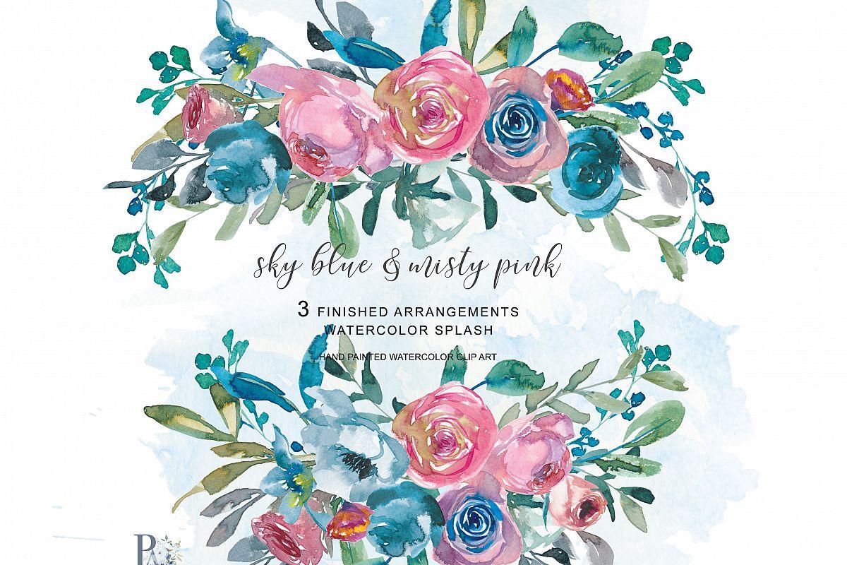 Watercolor Sky Blue & Misty Pink Flowers.
