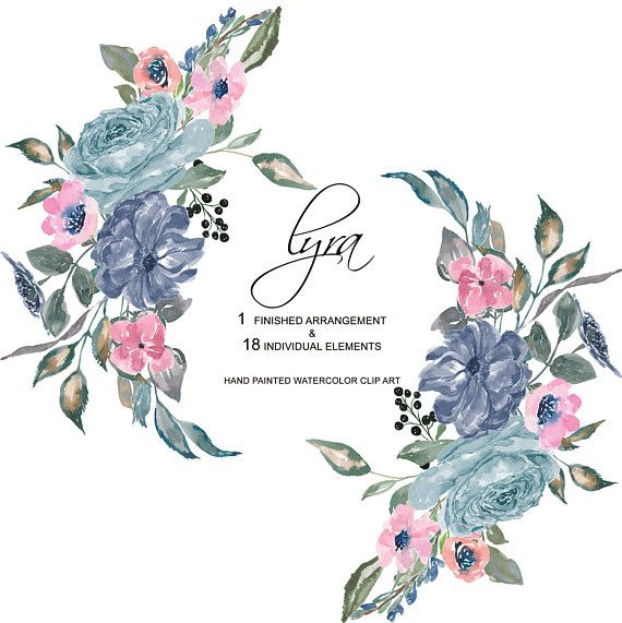 Hand Painted Watercolor French Blue Flowers Clipart One.