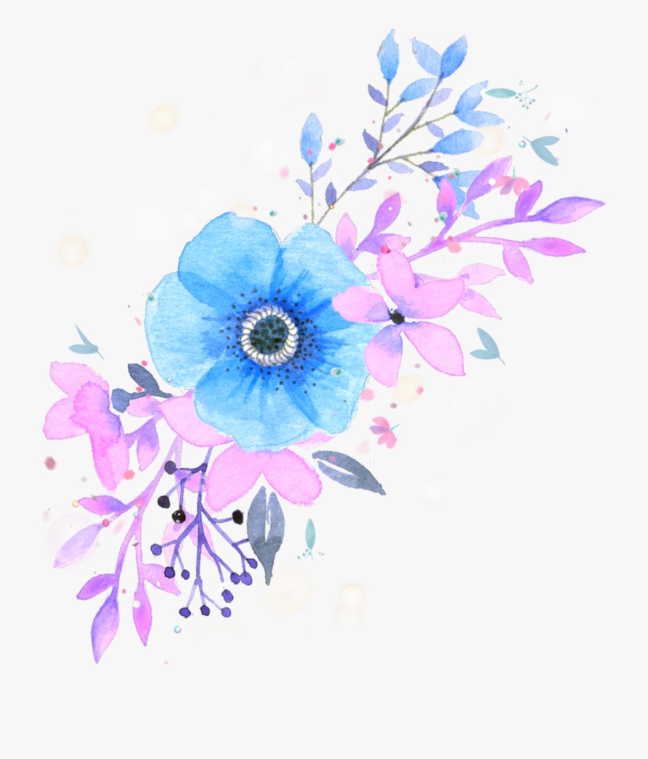 ftestickers #watercolor #flowers #floralswag #blue.