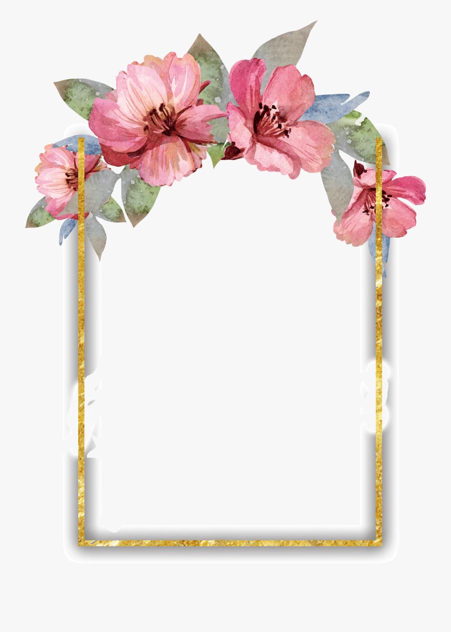 Floral Border Design Watercolor, Hd Png Download.