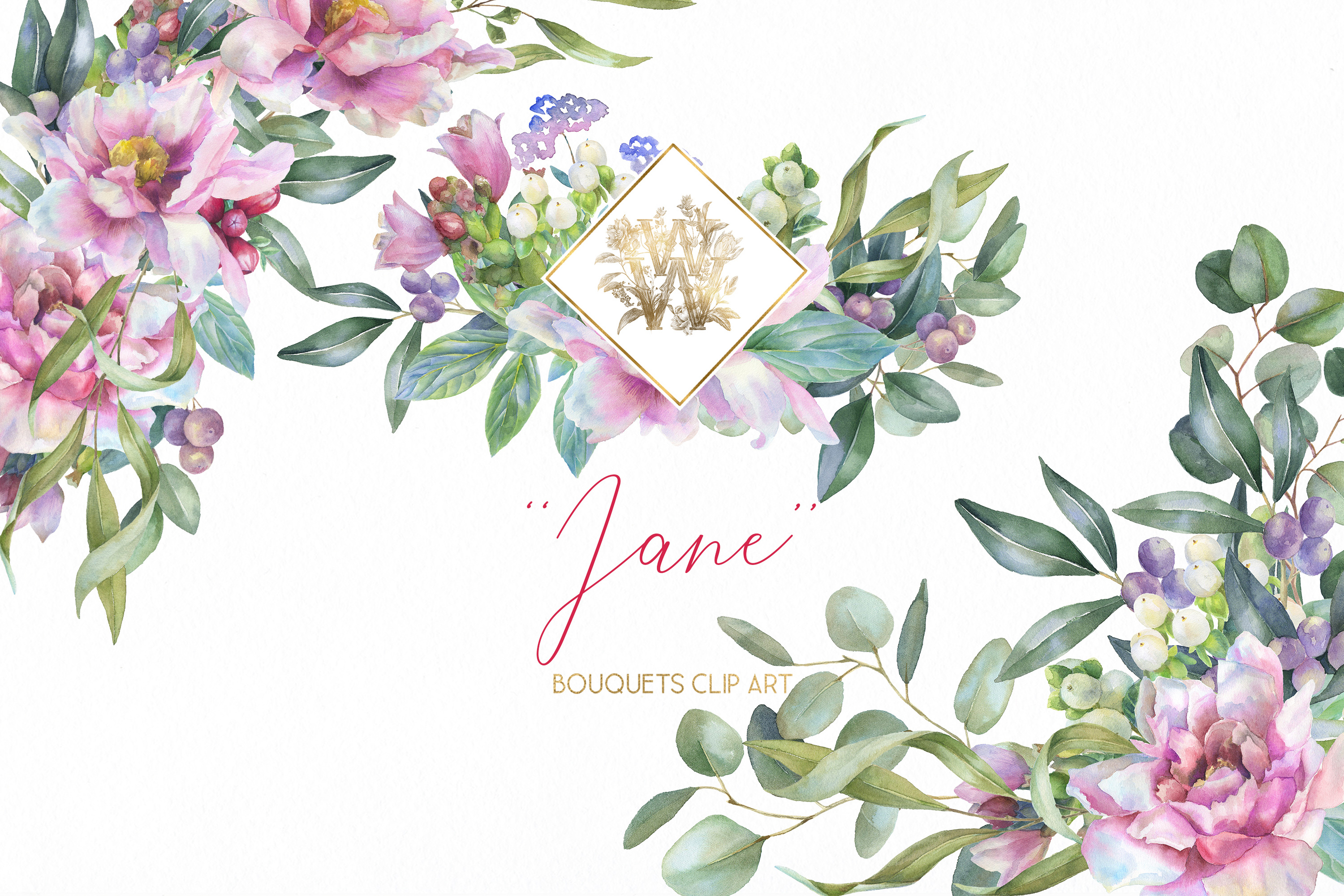 Watercolor Pink Peonies border Clipart, Wedding peony floral.