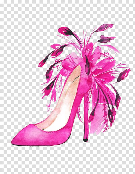 Pink stiletto illustration, Shoe Fashion illustration High.