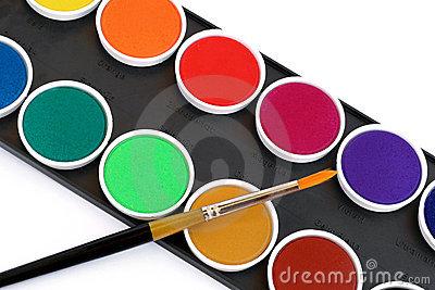 Watercolor Pallet Box Royalty Free Stock Photos.
