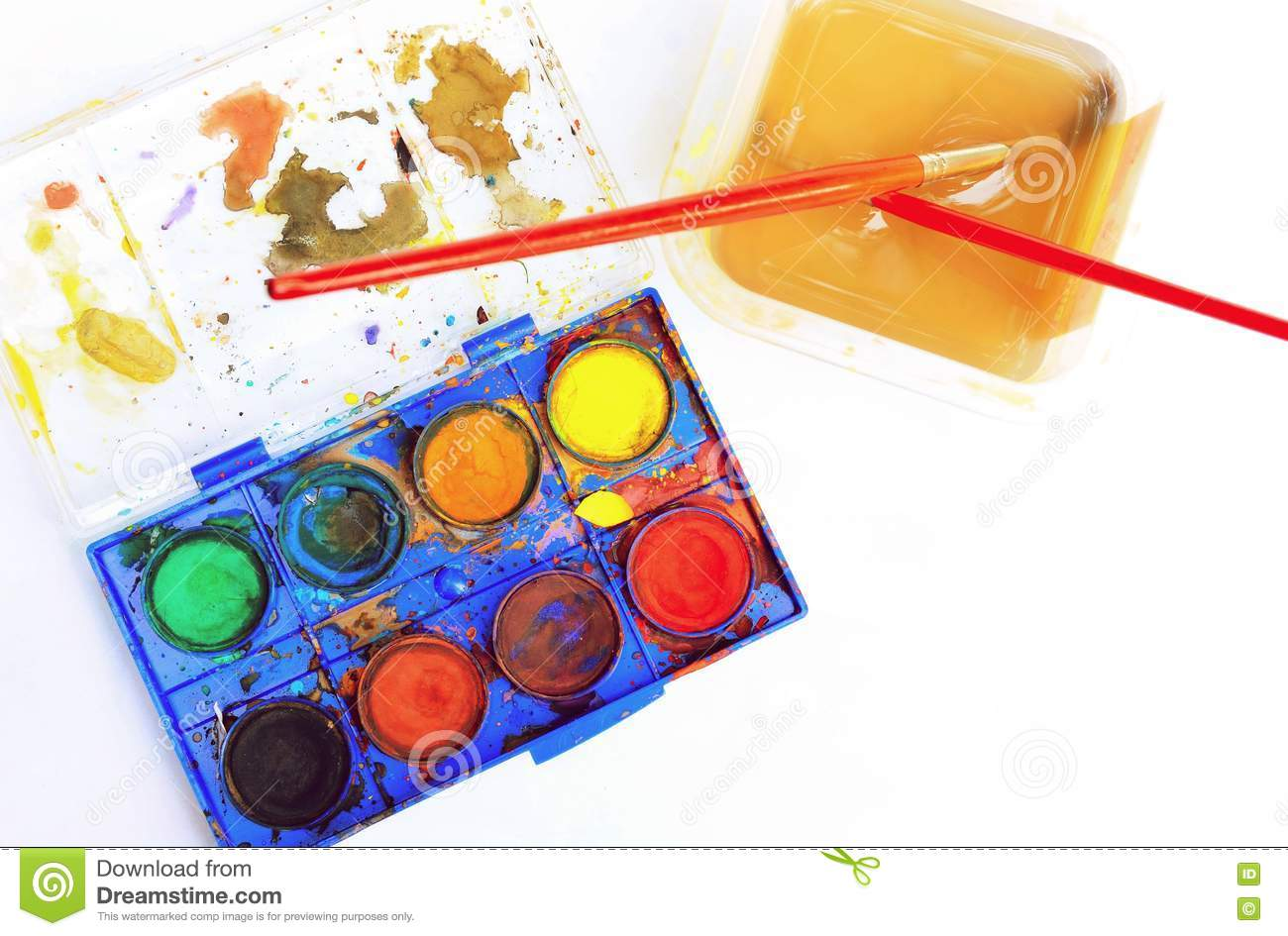 Old Watercolor Palette Box With Brush Stock Photo.