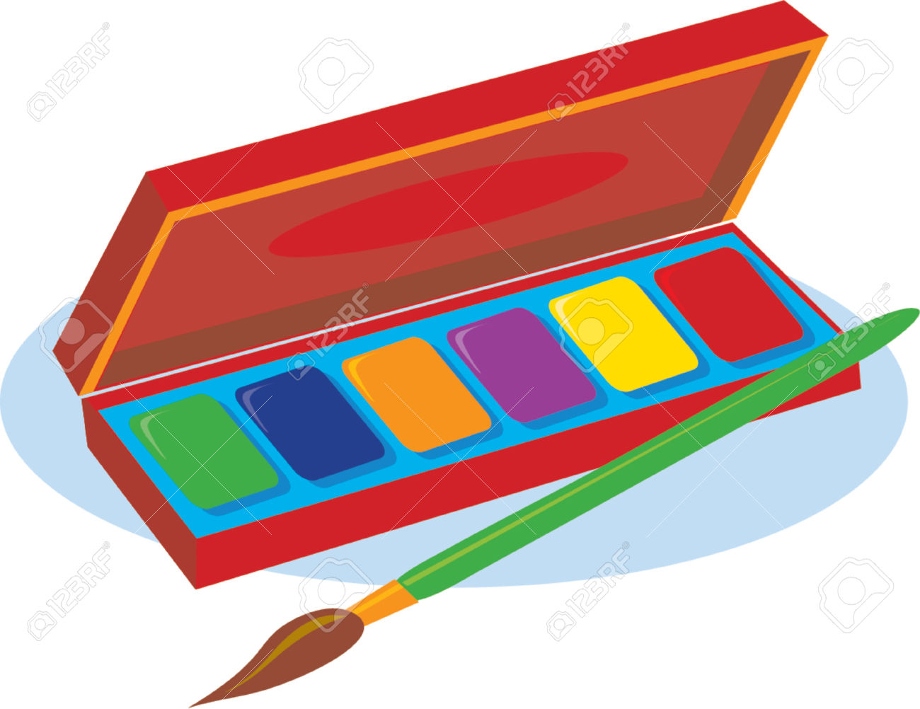 An Artist's Box Of Watercolor Paints And A Brush Royalty Free.