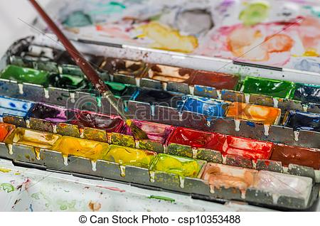 Pictures of watercolor paint box with brush csp10353488.