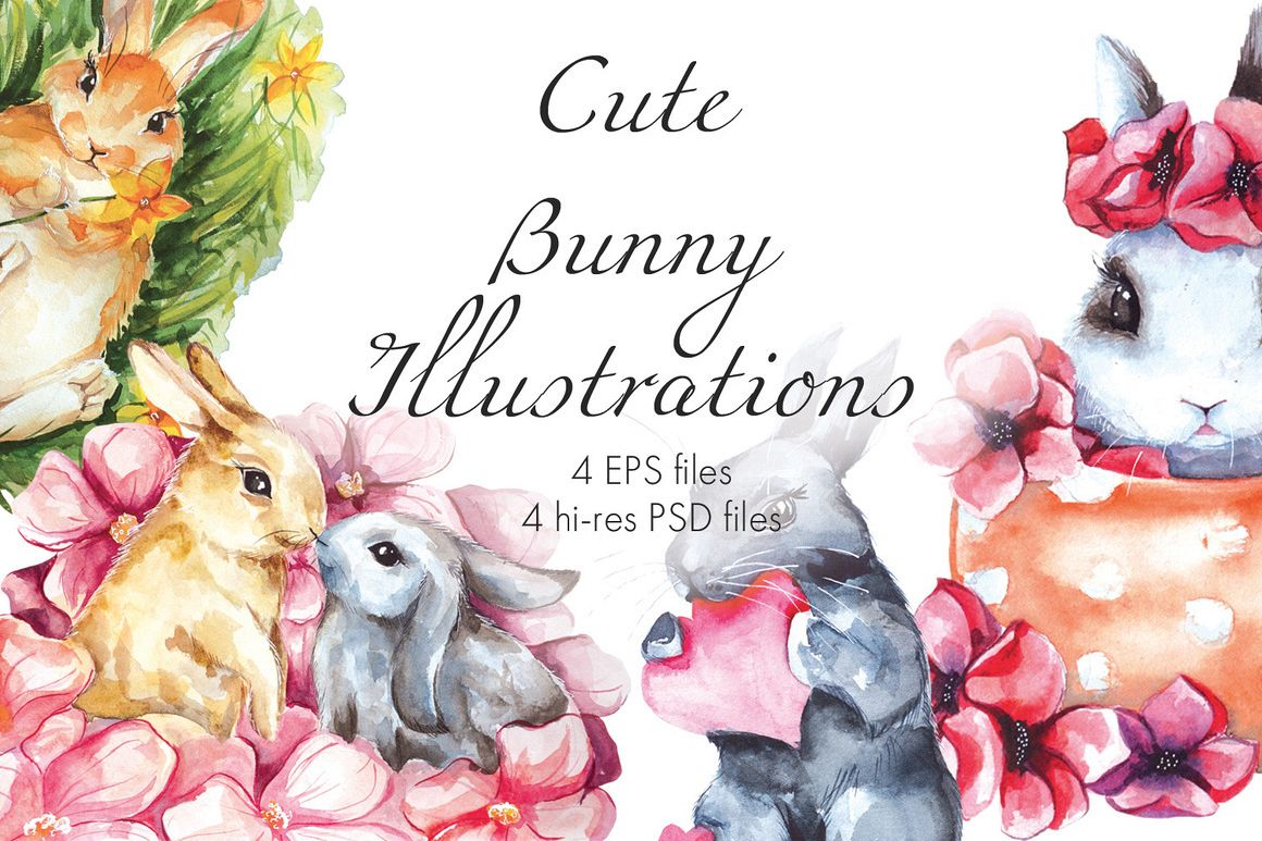 Cute Bunny. Watercolor illustrations.