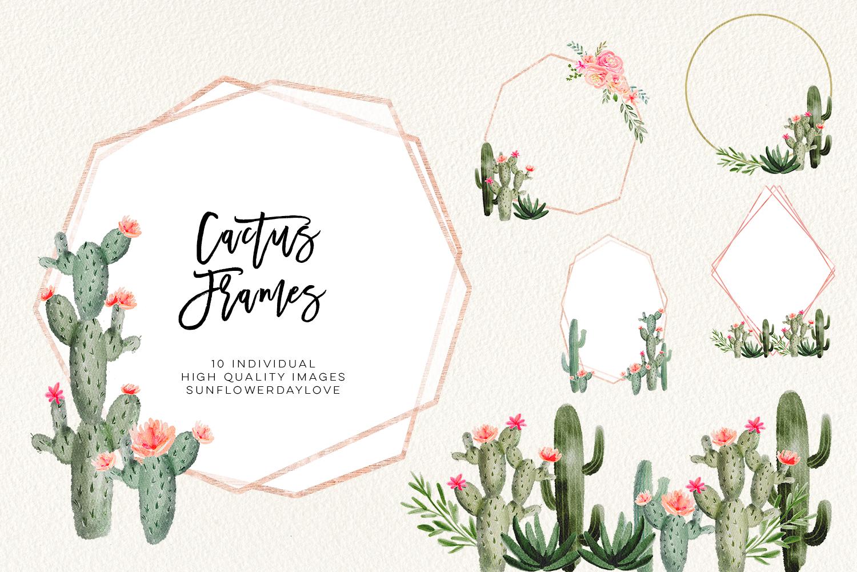 Succulent cactus frames, succulent borders, Hand Painted Succulent frames,  Watercolor Cactus Cacti instant download, cactus clipart, floral.