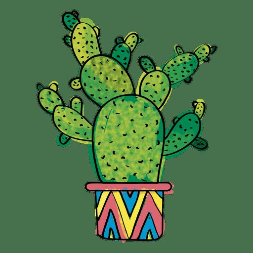 Hand drawn watercolor multiple cactus.