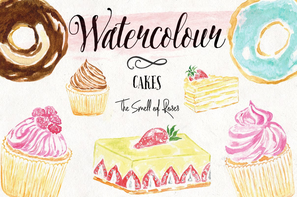 Free Watercolour Cakes Clip Art 4.