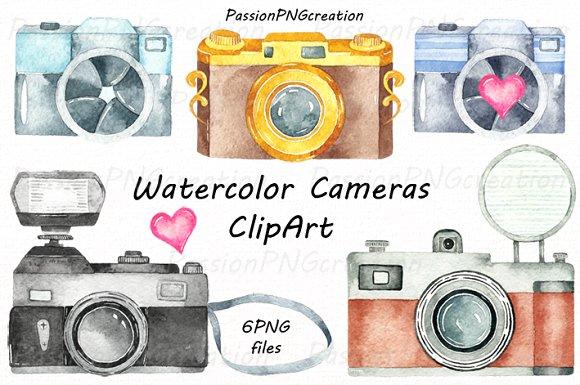 Watercolor Cameras Clipart.