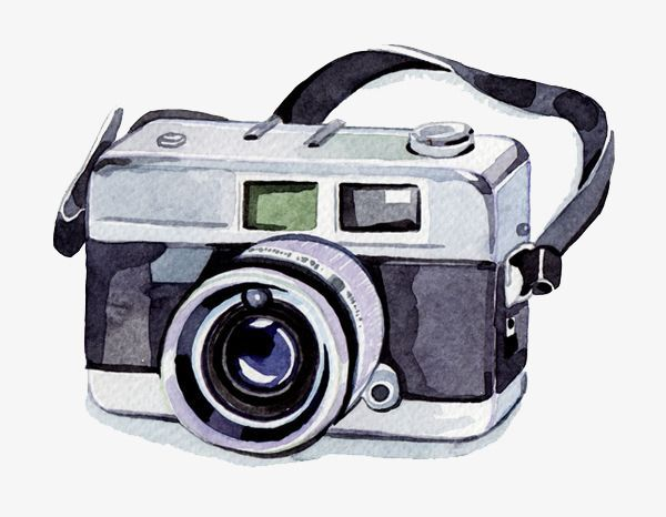 Watercolor Camera, Watercolor Clipart, Camera Clipart.