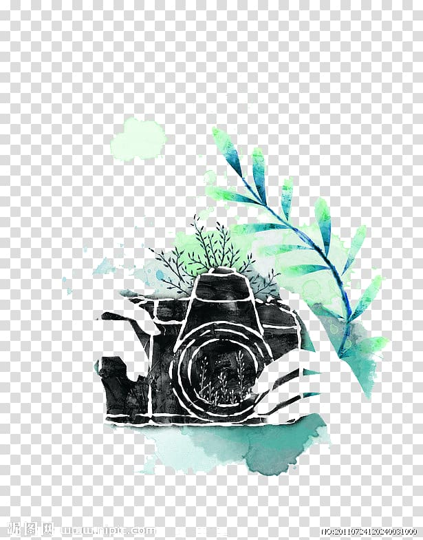 Camera lens , Watercolor camera, DSLR camera illustration.