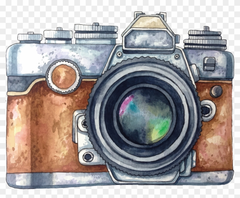 Vector Painted Photography Watercolor Camera Painting.