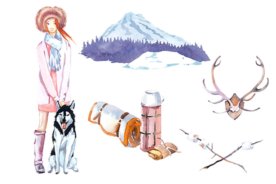 Winter Camping watercolor clipart ~ Illustrations ~ Creative.