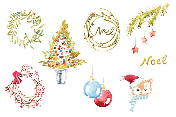 Christmas clip art watercolor.
