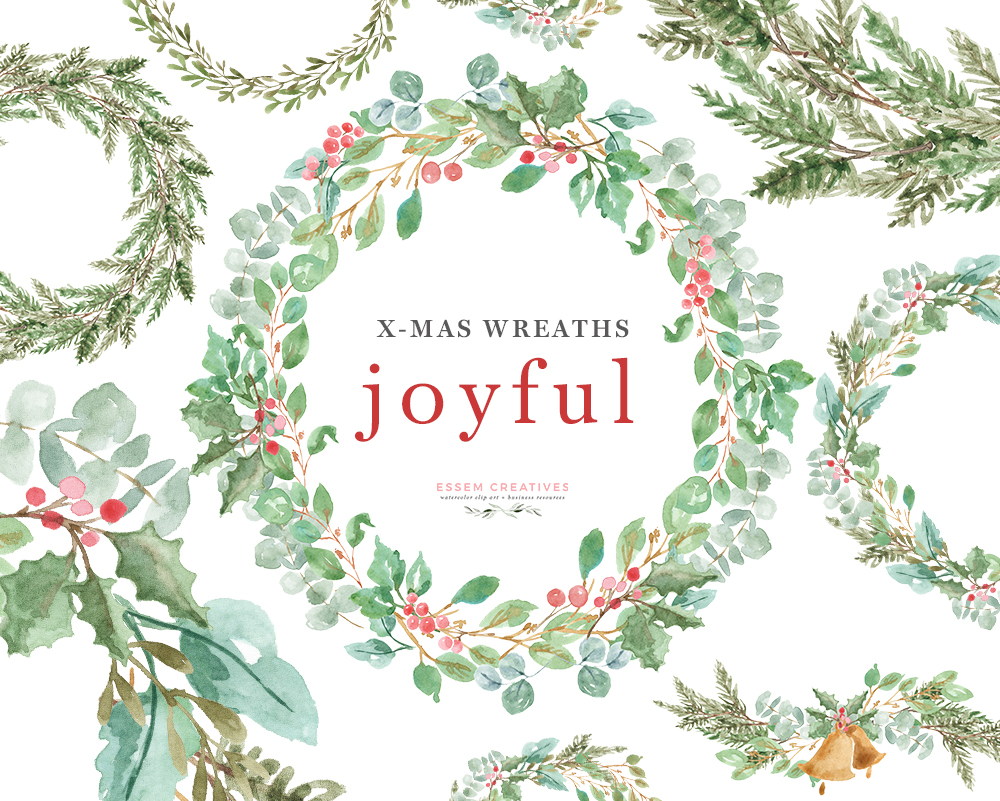 Watercolor Christmas Wreath Clipart, Greenery Holiday Card Borders PNG  Graphics.
