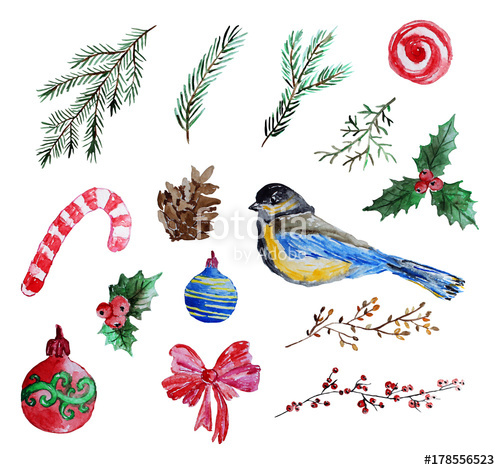 watercolor christmas clip art\