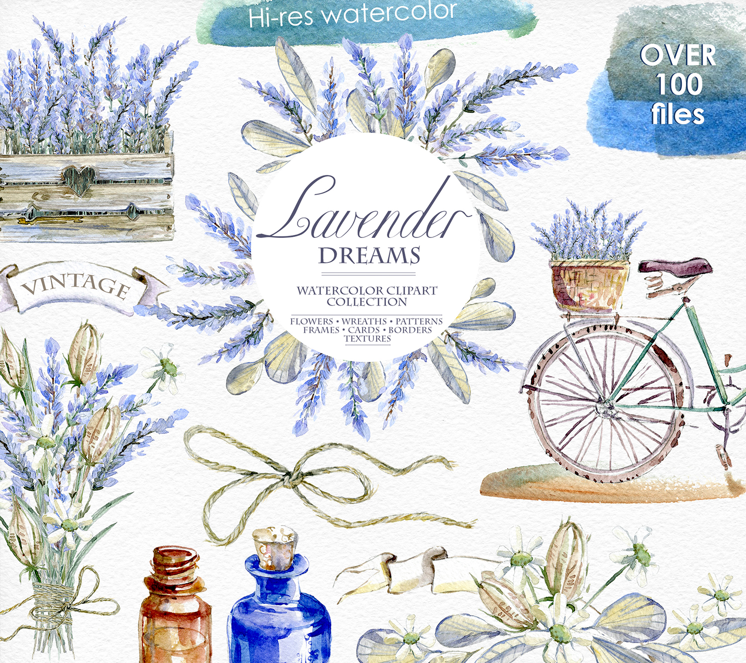 Lavender WATERCOLOR clipart set.