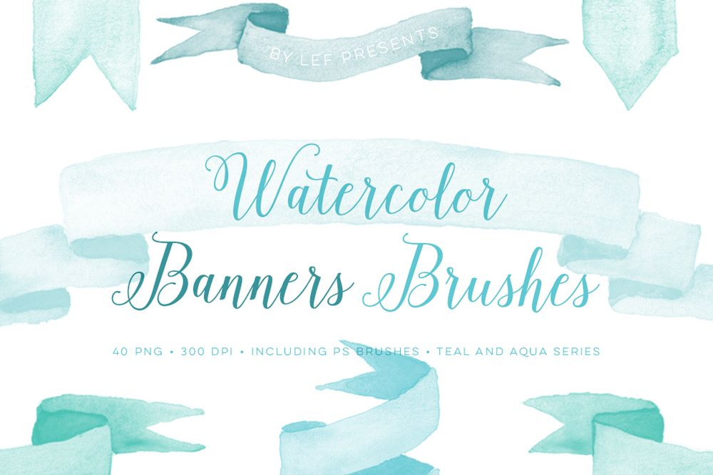 Photoshop Brushes Watercolor Banner with bonus PNG clipart.