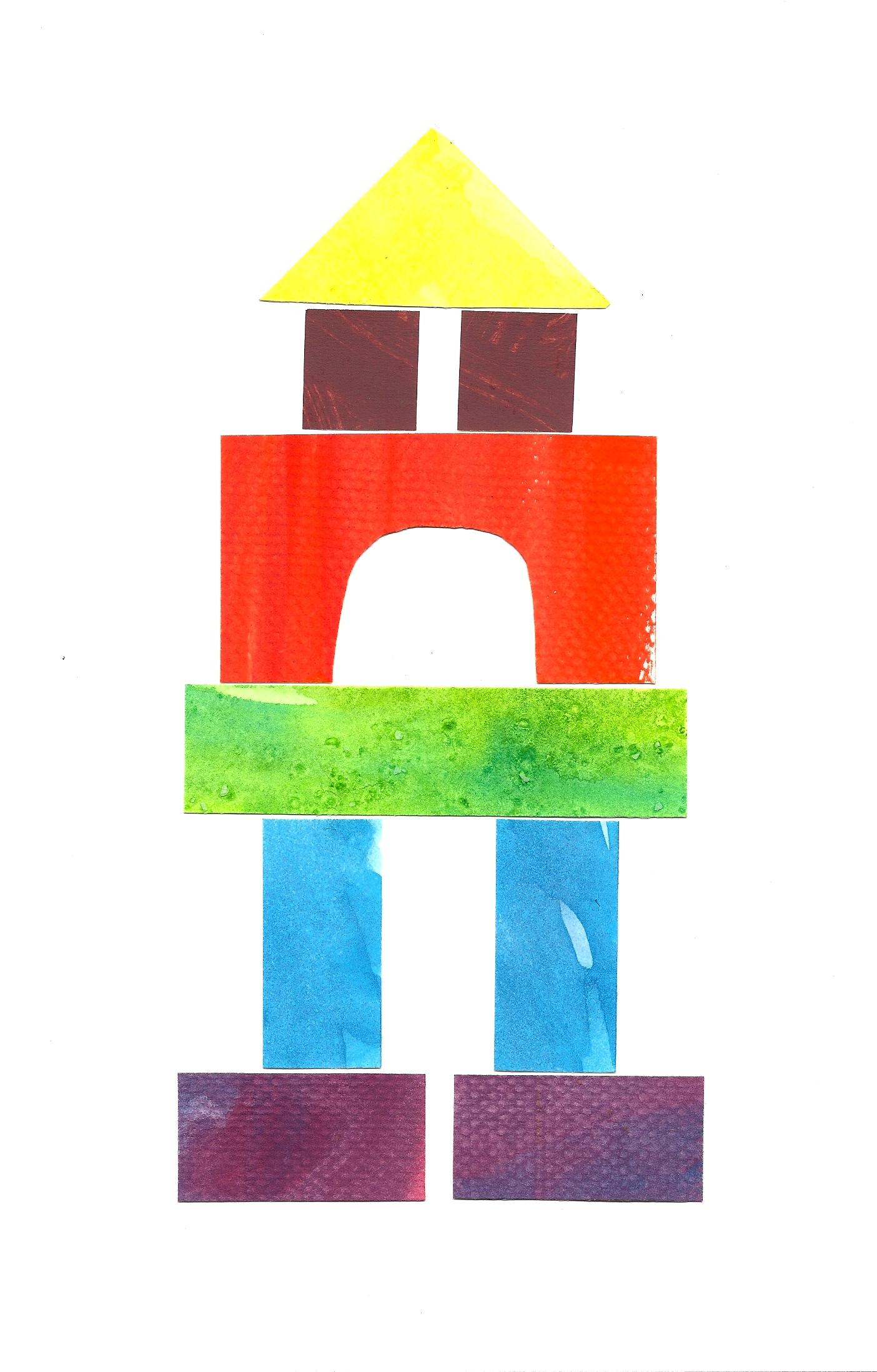 Under Construction: Watercolor building block art.