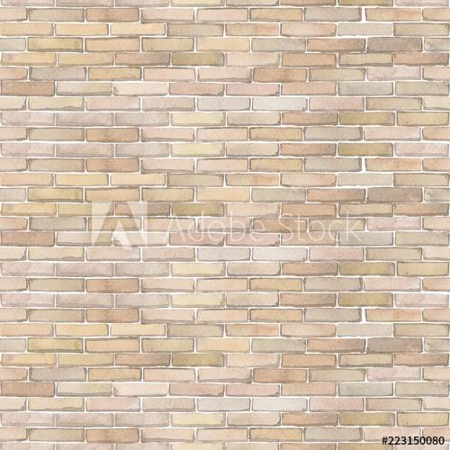Watercolor seamless pattern of white brick wall.