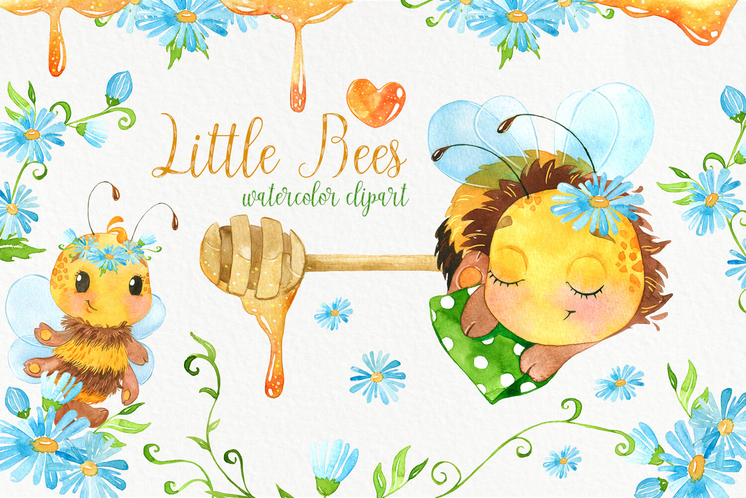 Bees. Cute bee watercolor clipart. Baby animals clip art.
