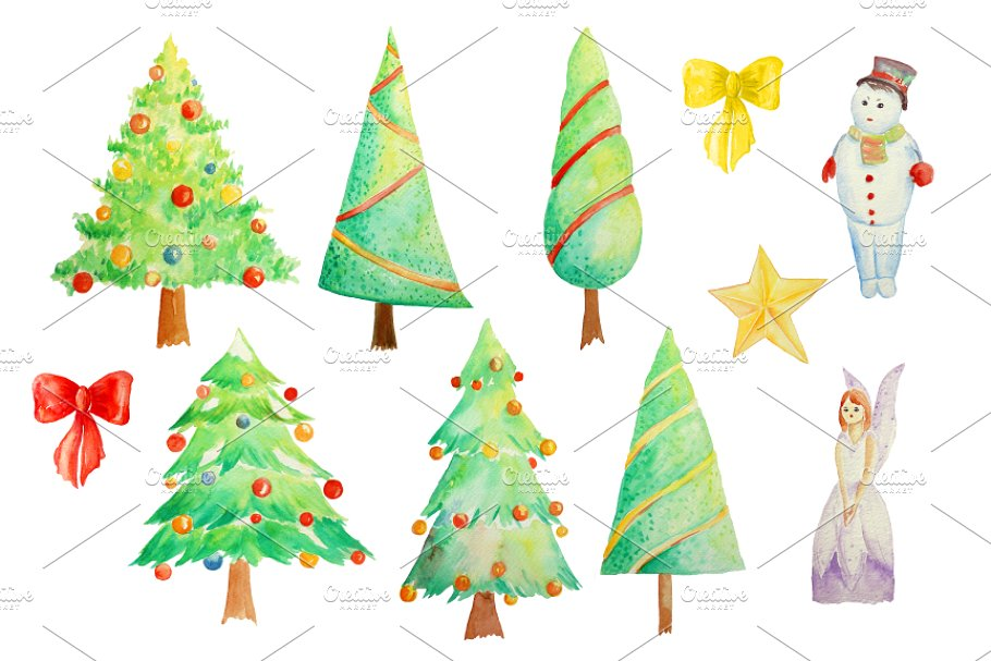Watercolor Clipart Christmas Trees.