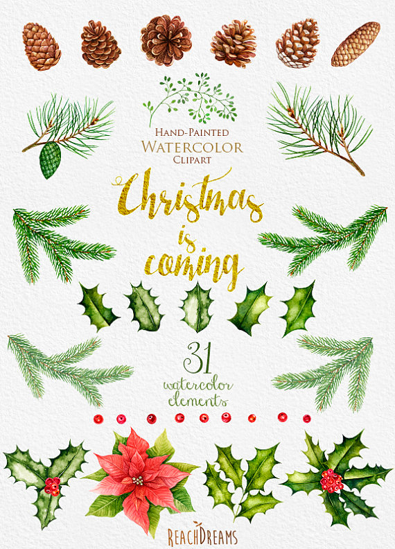 Christmas Watercolor Clipart, New Year decoration, Holiday.