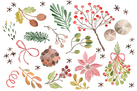 Christmas clip art watercolor.