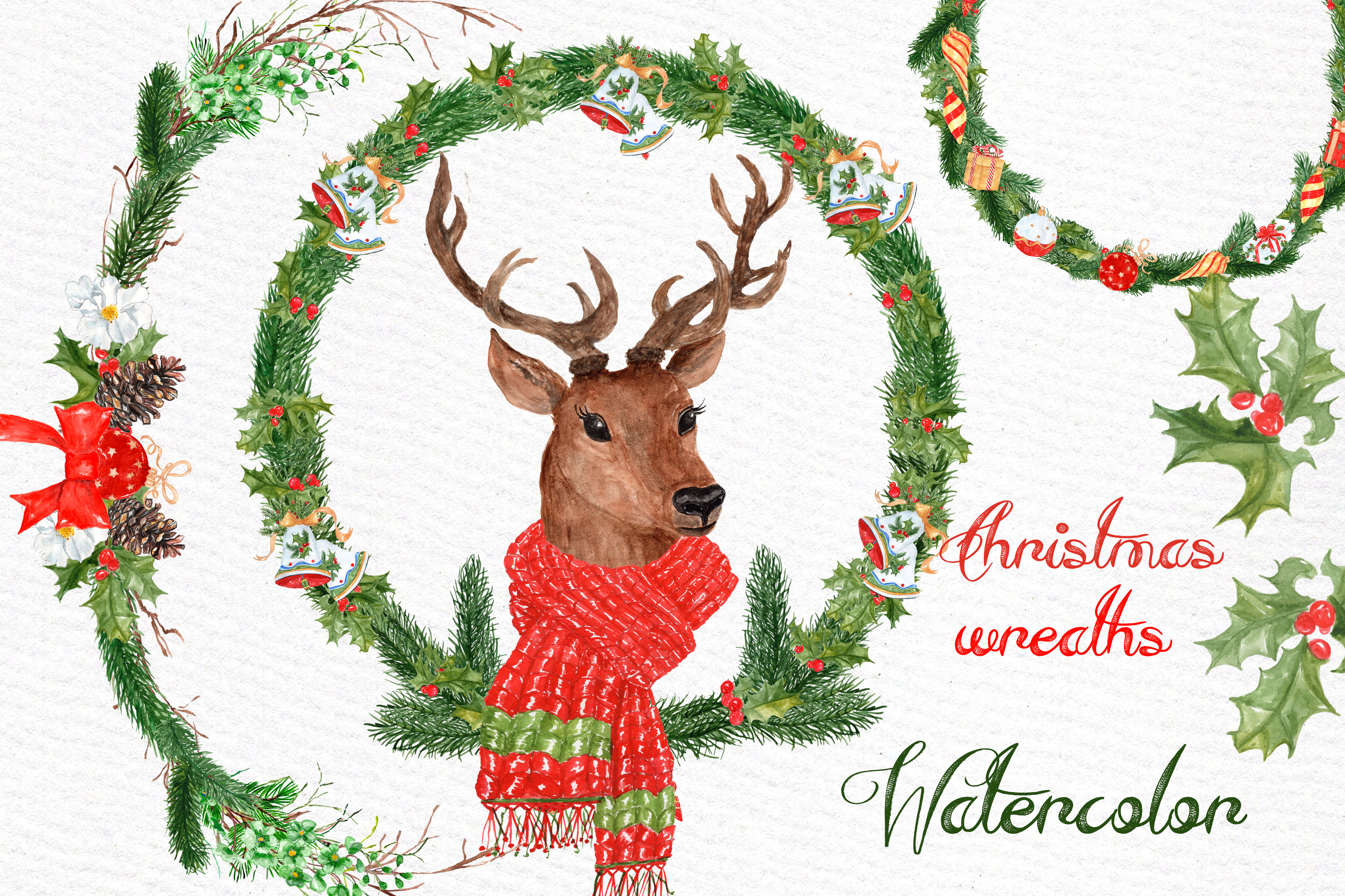 Watercolor Christmas Deer clipart.
