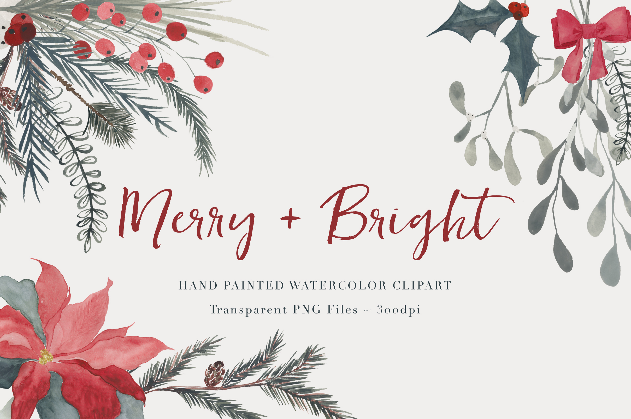 Christmas Watercolor clipart.