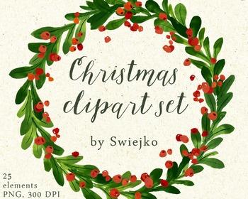 Christmas Watercolor Clipart, holiday wreath, mistletoe.