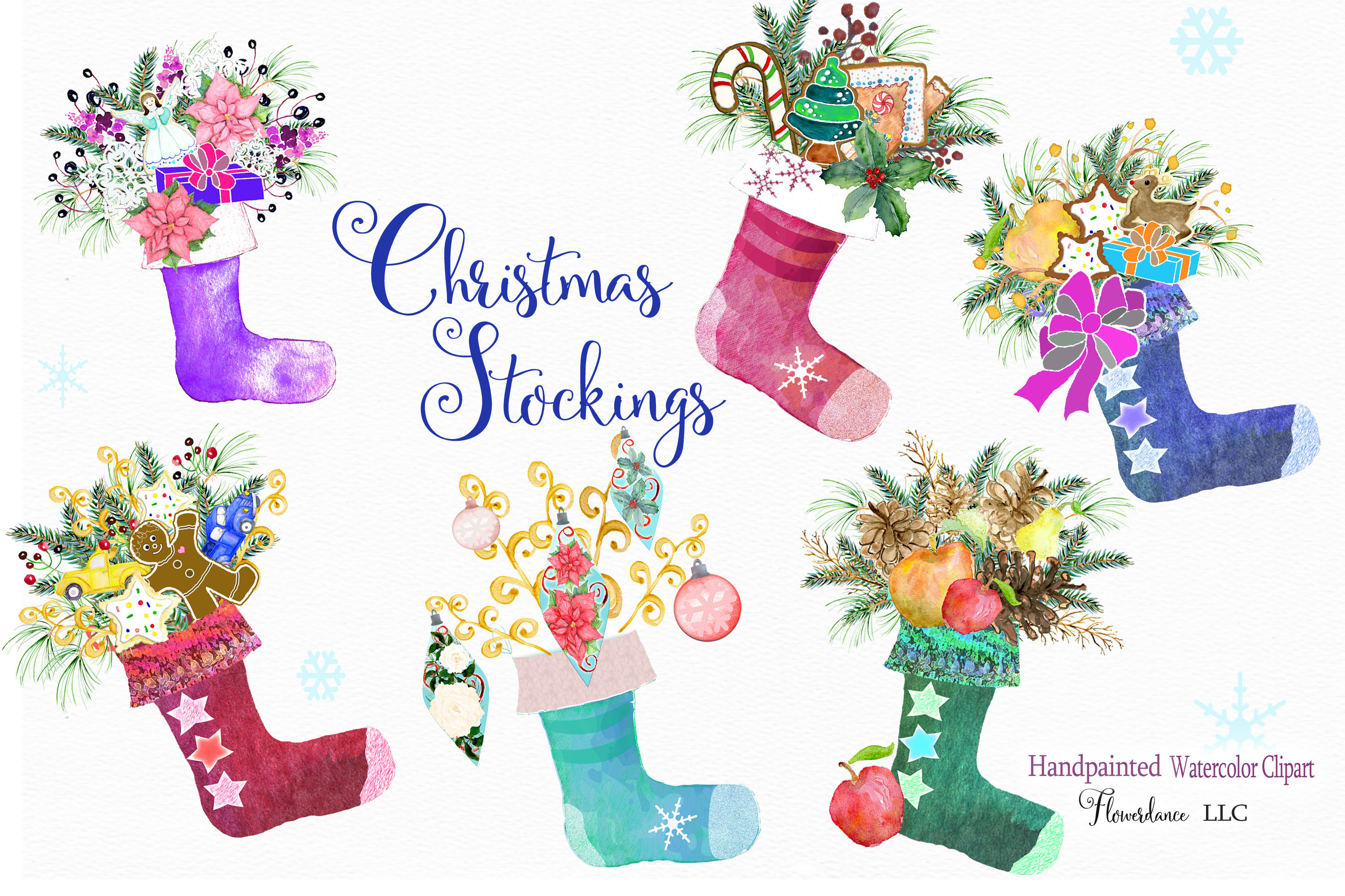 Watercolor Clipart Christmas Stockings with Gifts.