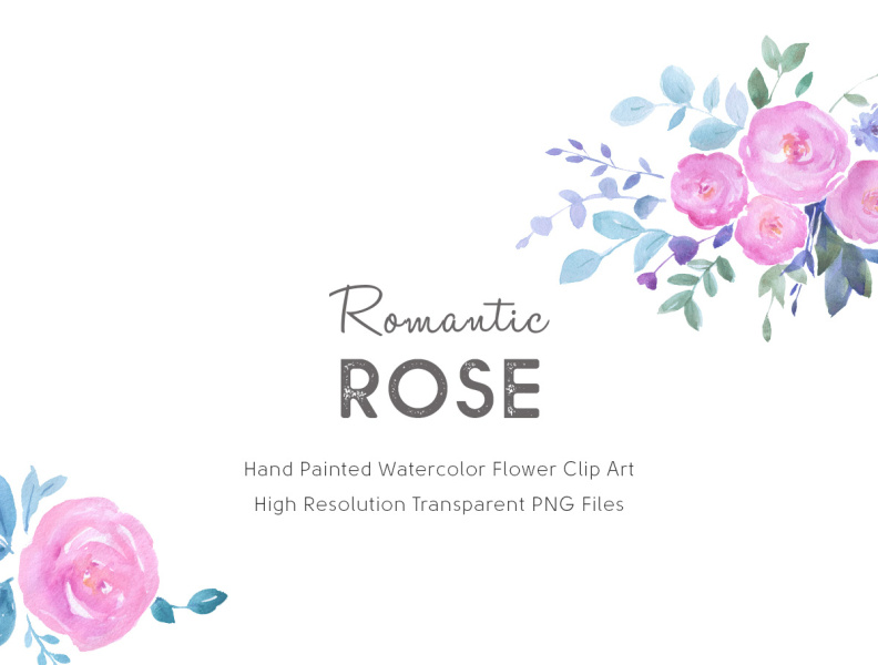 Watercolor Flower Clipart Romantic Rose/PNG files by Gogivo.
