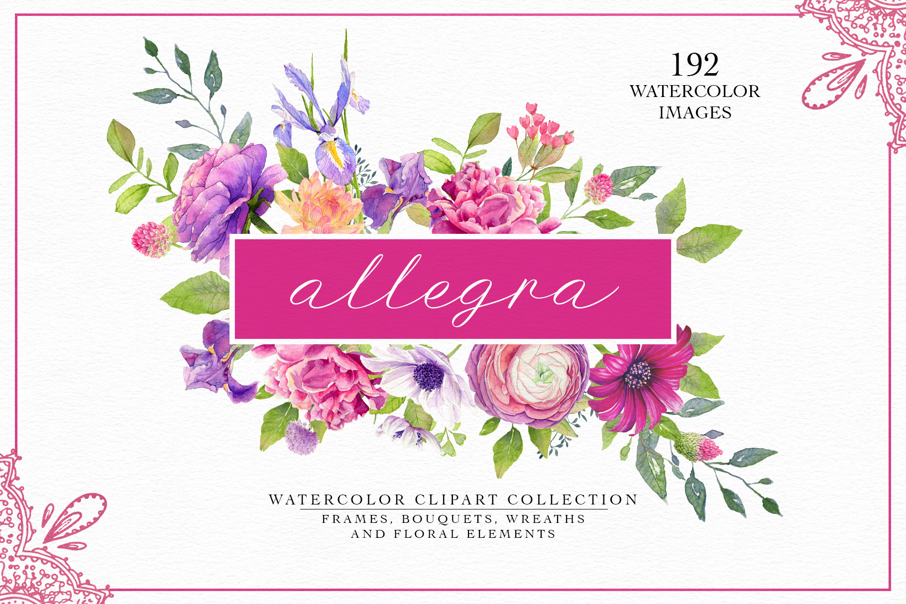 Allegra Watercolor Clipart Collection.
