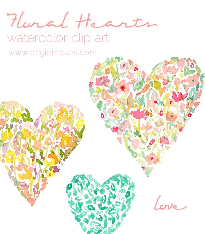 Floral Watercolor Hearts Watercolor Clip Art.