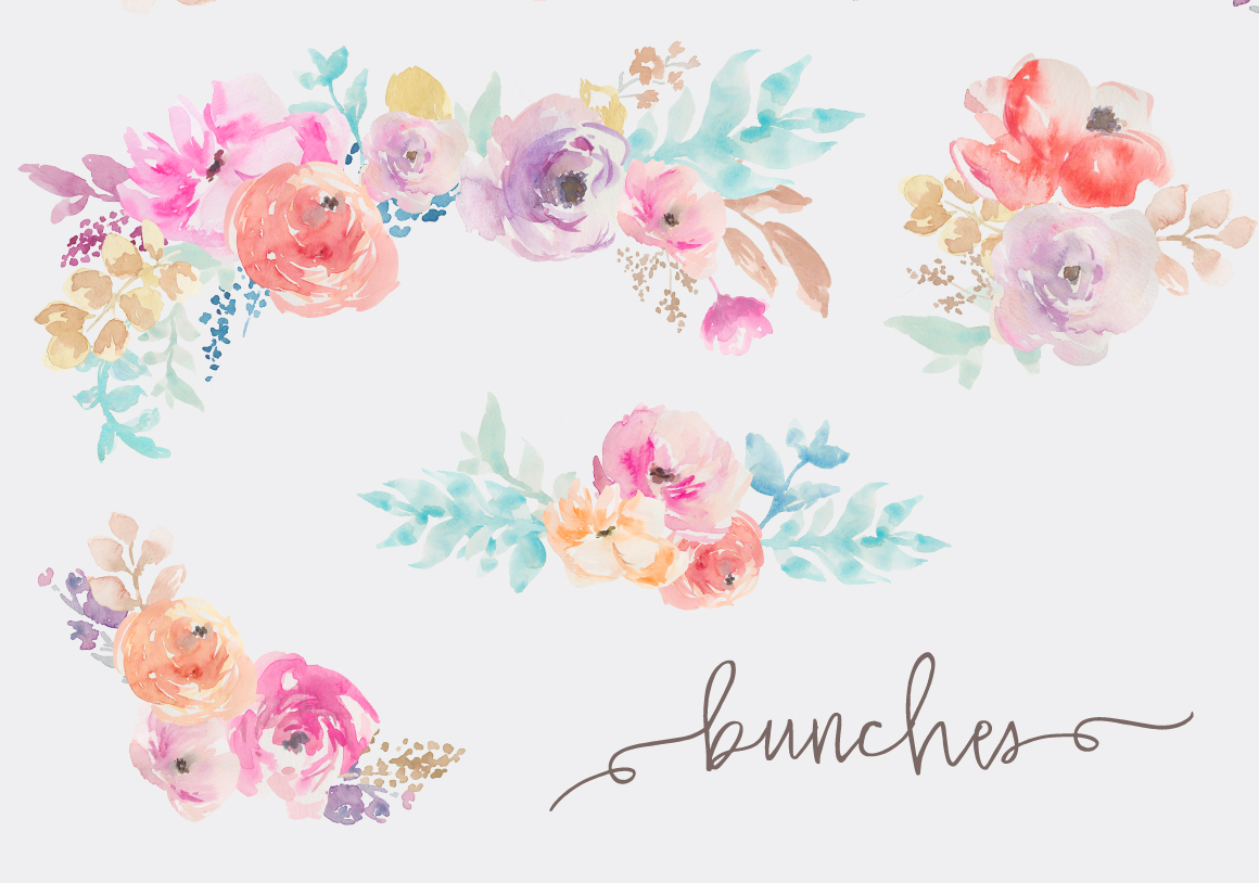Watercolor Flowers Clip Art By Angie Makes.