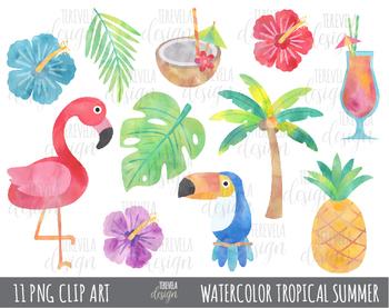 50% sale WATERCOLOR TROPICAL SUMMER clipart, flamingo clipart, tropical  flowers.