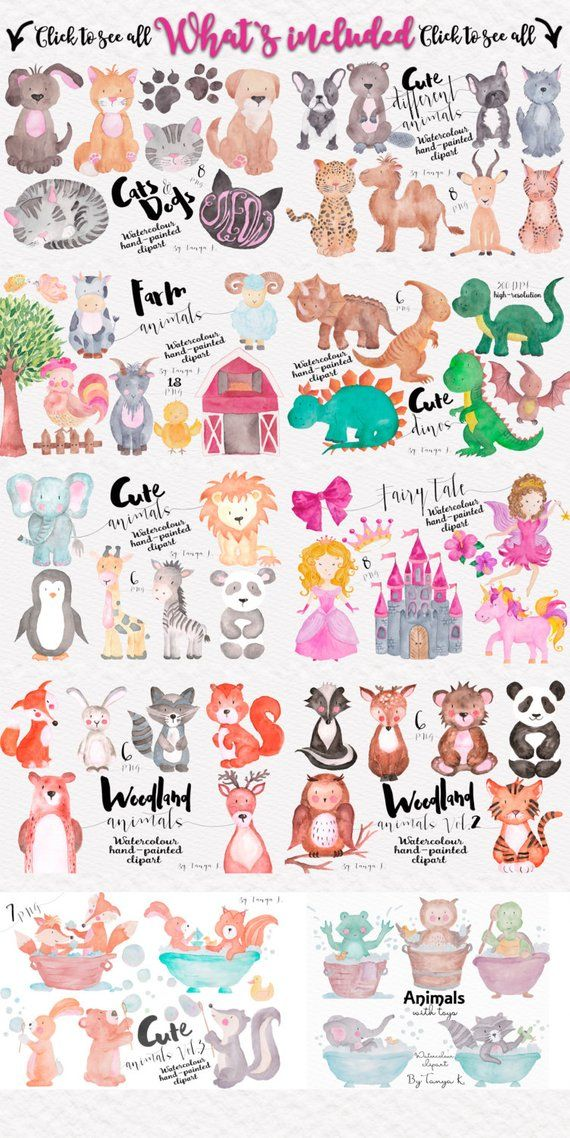 Clipart, Bundle Pack, Watercolor Animals Clipart, Watercolor.